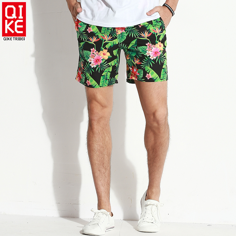 Mens Swim Trunks Quick Dry Beach Shorts with Mesh Lining Retro Floral Patterns